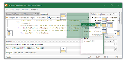 Actipro Docking & MDI - WPF tool windows and multiple