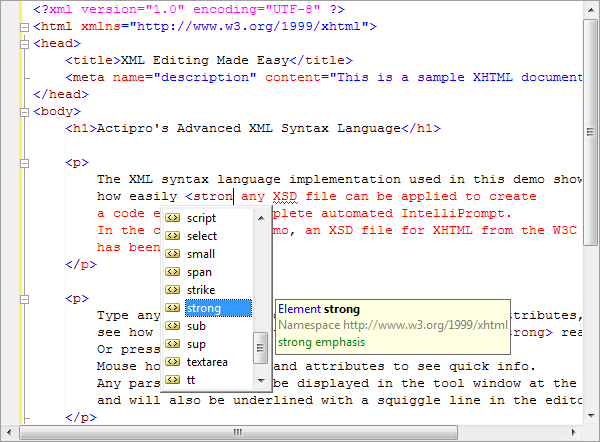 Actipro SyntaxEditor Web Languages Add-on - Advanced XML