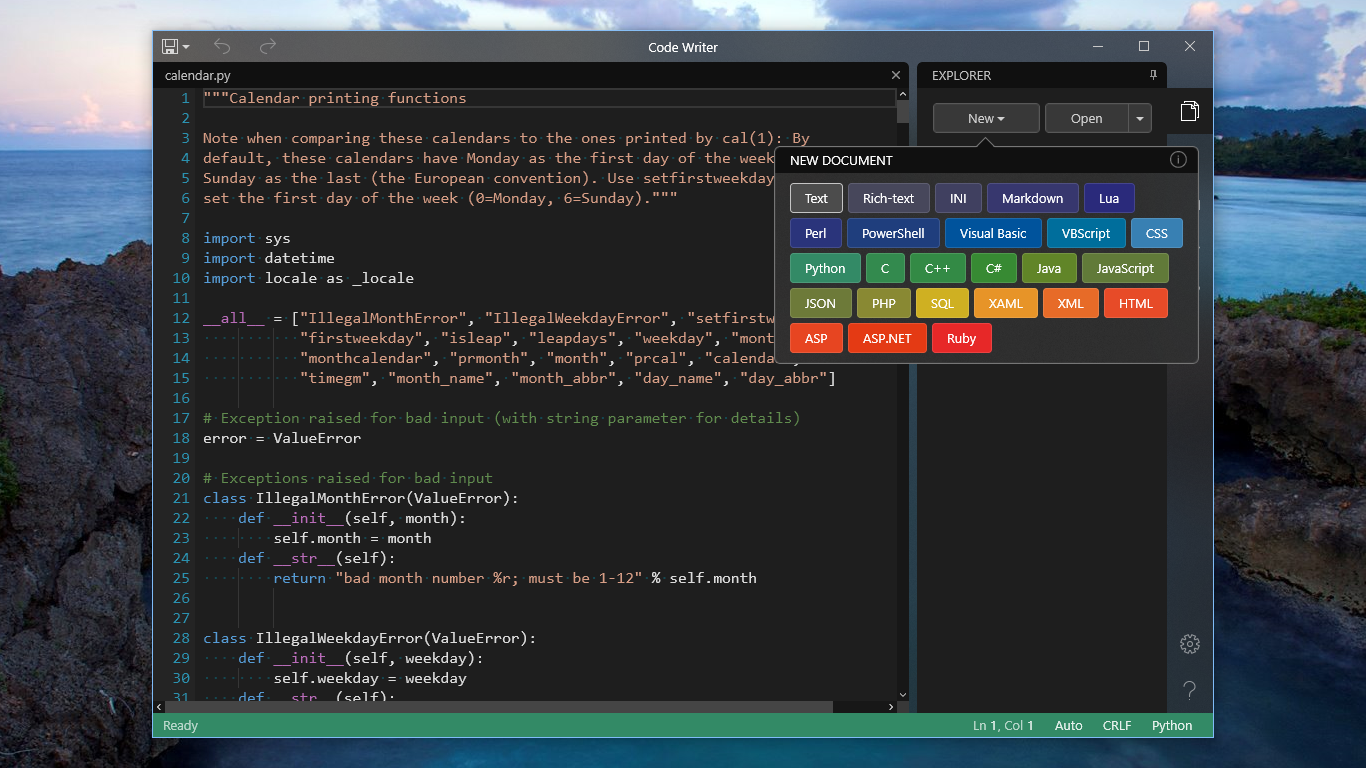 Code Writer - Text and code editor app with syntax highlighting for