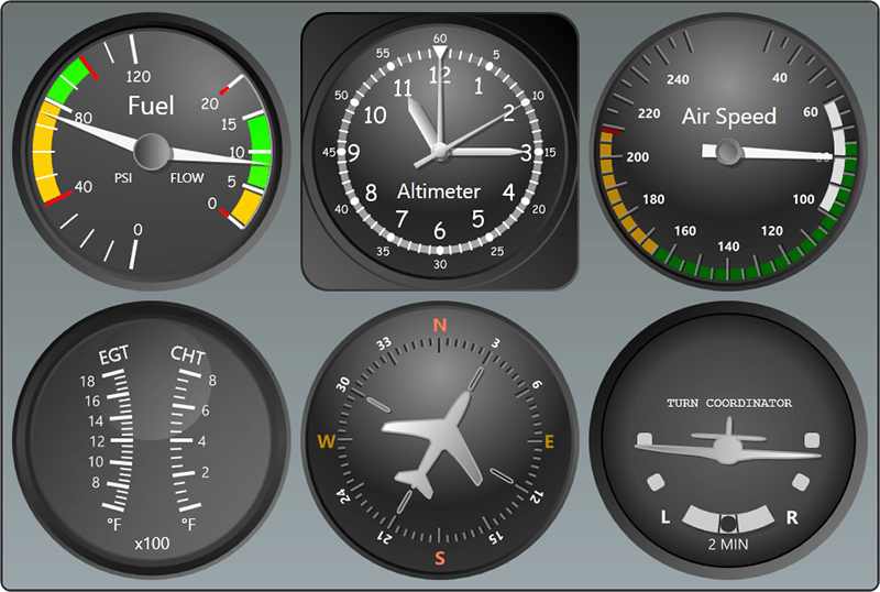 Flight simulation gauges