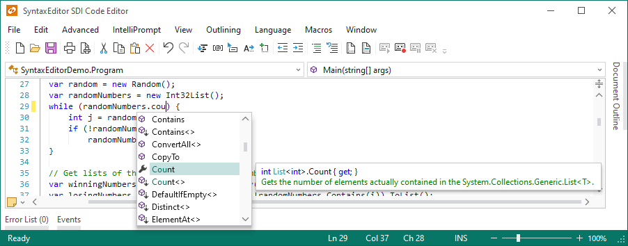 Actipro SyntaxEditor  NET Languages Add-on - Advanced C# and